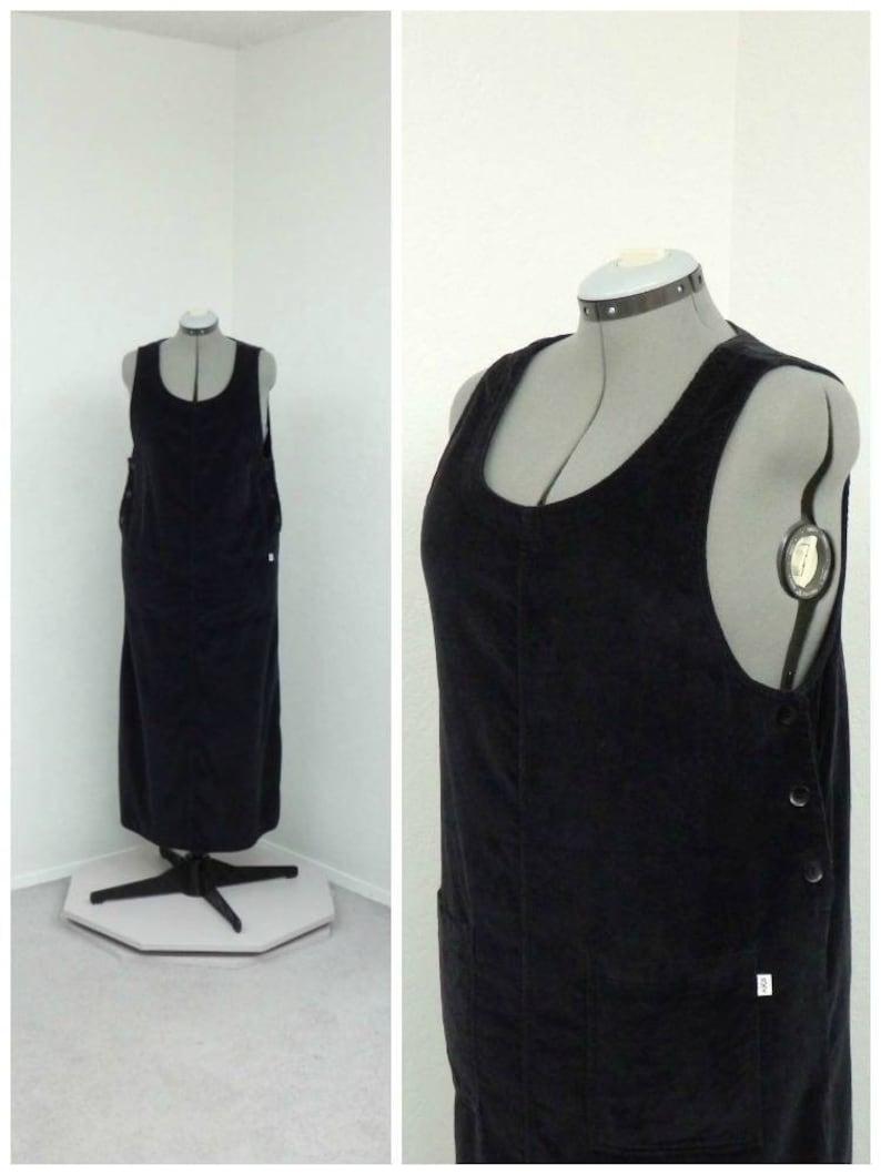 1335369331c Vintage 90s Plus Size Black Corduroy Jumper Dress Maxi Dress