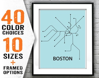 Boston Subway Map Poster.Boston Subway Map Etsy