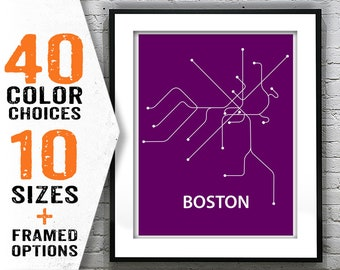 Boston Subway Map Poster.Boston Subway Art Etsy