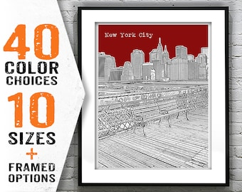 Flash Sale - Brooklyn Bridge Manhattan Skyline Art Print Poster New York  City Item T1841 11dd0b350cf1