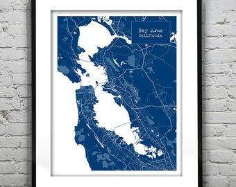 Map Of California Bay Area.Bay Area Map Etsy