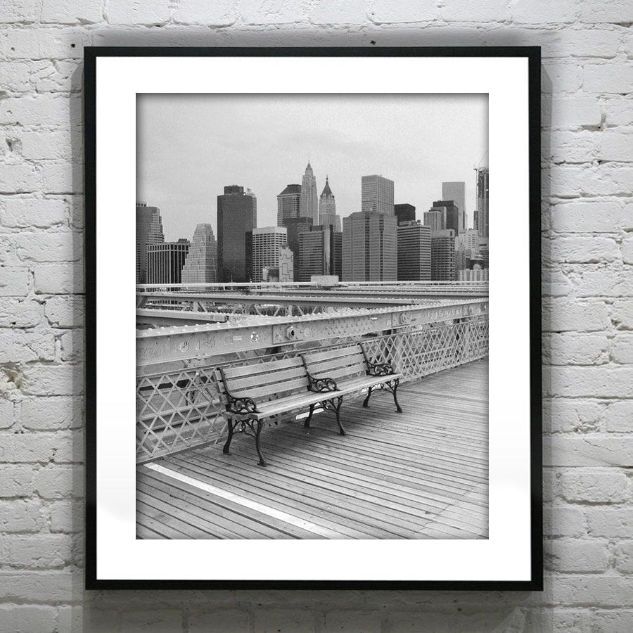 Brooklyn bridge new york city black and white wall art photography