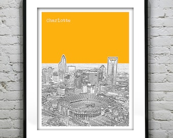 Etsy Birthday 20% Off Sale - Charlotte North Carolina Skyline Poster Art Print NC Version 3