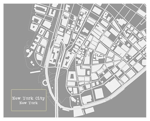 New York City Blueprint Map Poster Art Print Several Sizes