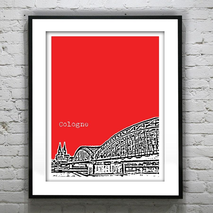 cologne germany poster skyline art print europe bridge. Black Bedroom Furniture Sets. Home Design Ideas