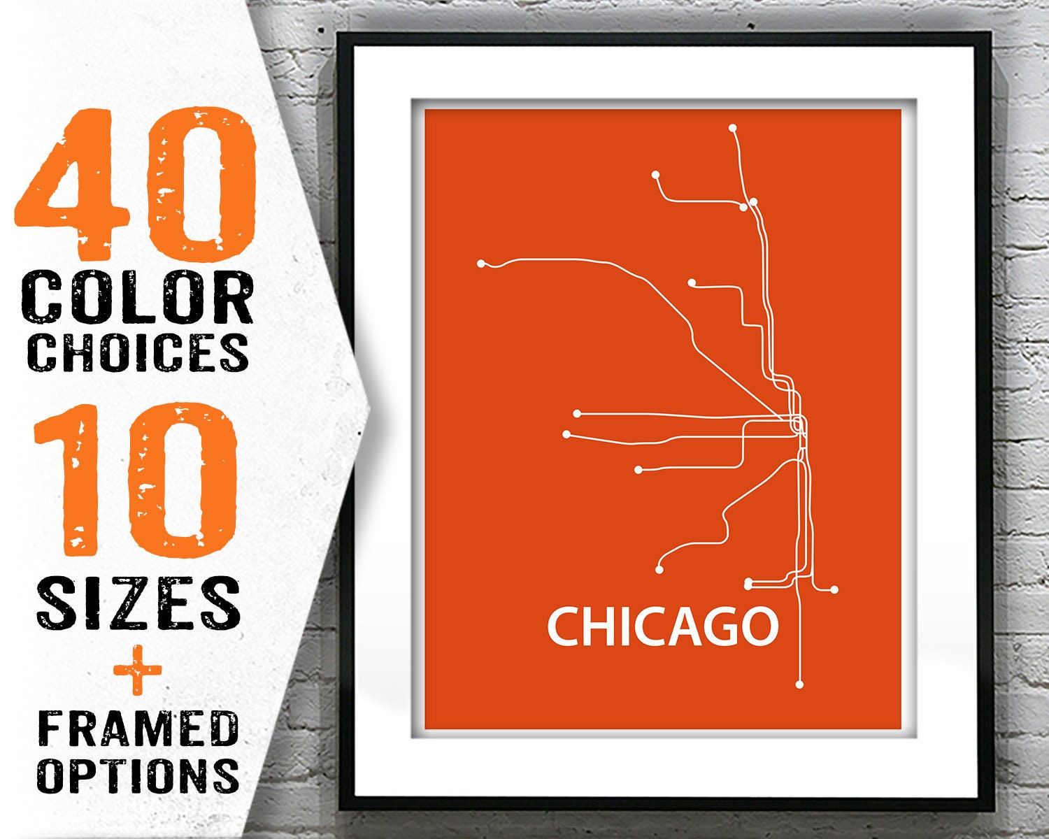 Chicago Subway Map Picture.Chicago Subway Map Poster Art Print Modern Line Drawing Item T2069