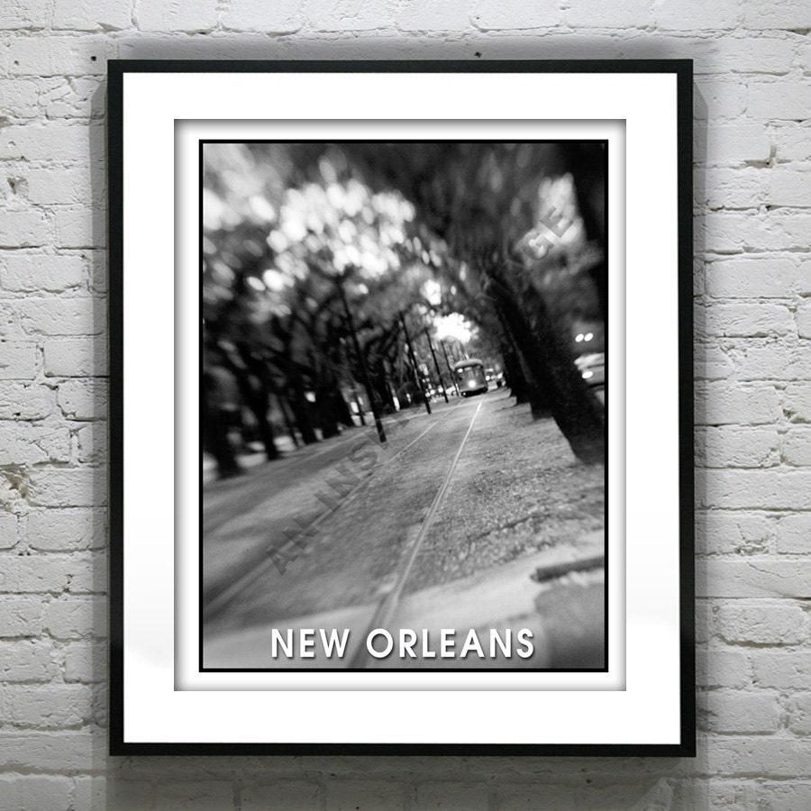 New orleans street car art print poster black white original louisiana item t1818