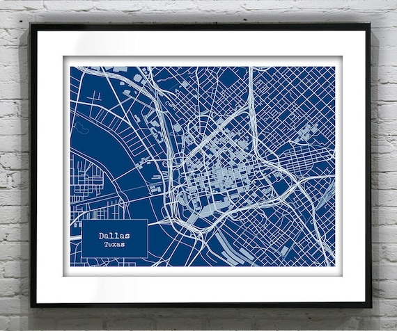 Dallas texas blueprint map poster art print several sizes malvernweather Gallery
