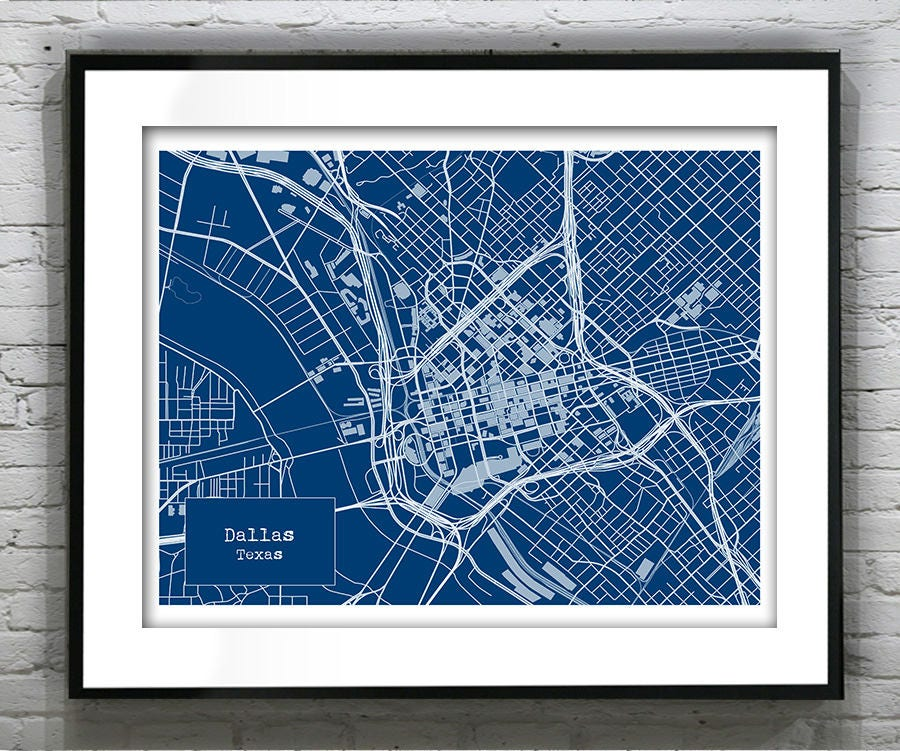 Dallas texas blueprint map poster art print several sizes available malvernweather Choice Image