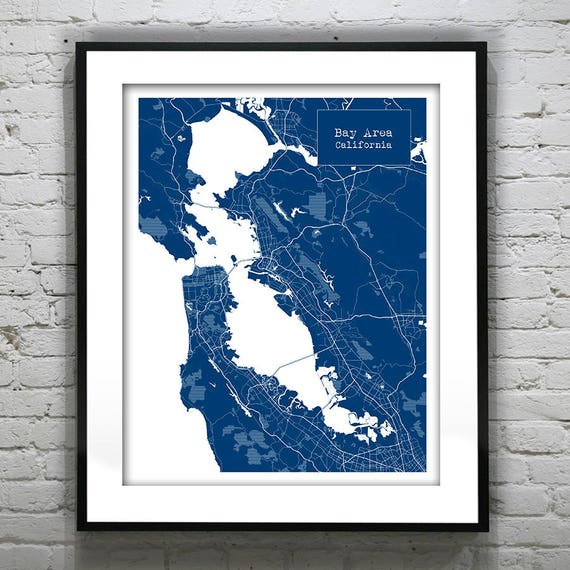 Bay Area California Ca Blueprint Map Poster Art Print Etsy A heat map of commutes in northern california reveals the urbanized core of the bay area, sacramento and central valley cities, as well as the workers who flow into and the areas that drain into the san francisco bay reveal a large swath of the state that ignores all manmade boundaries. bay area california ca blueprint map poster art print several sizes available item t1164