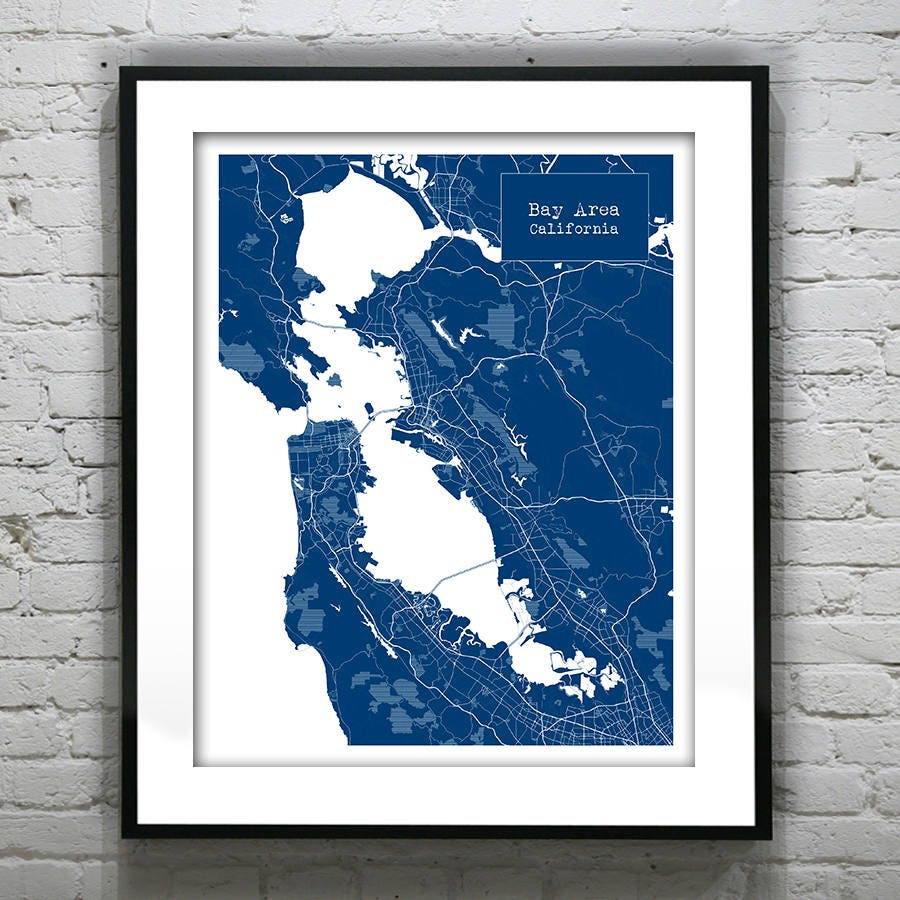 Bay area california ca blueprint map poster art print several bay area california ca blueprint map poster art print several sizes available item t1164 malvernweather Images