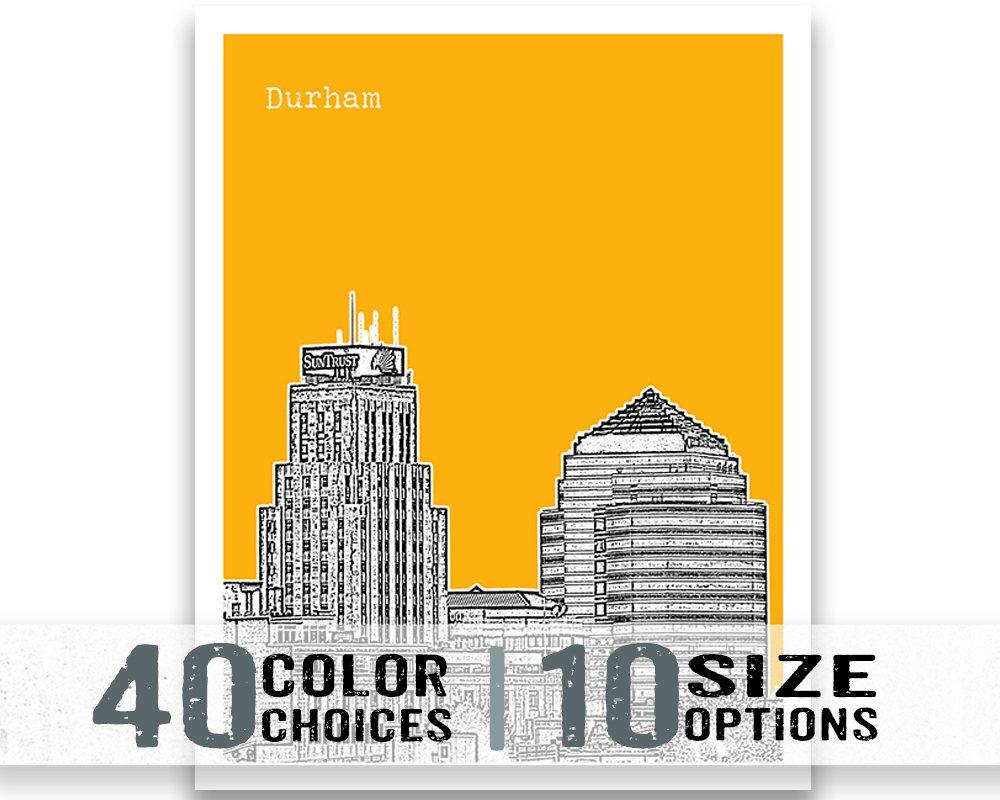 Durham North Carolina Poster Art Print City Skyline Nc Item T1440