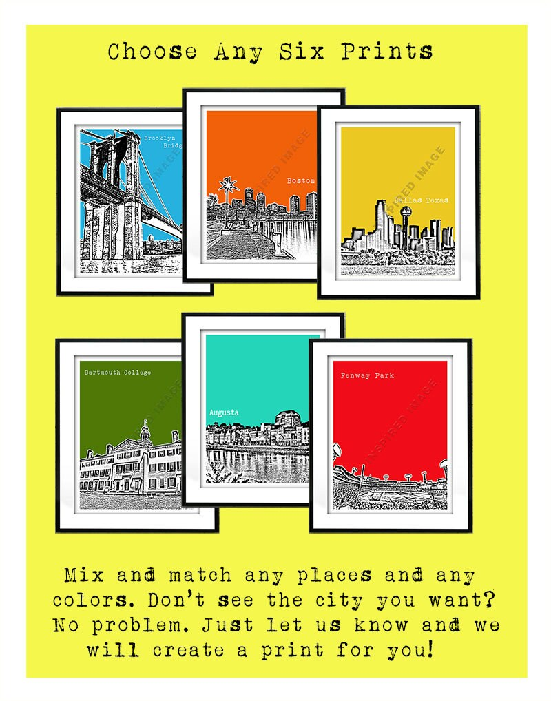 6 Six Pack Art Print Posters Mix and Match Your Choice any Cities ...