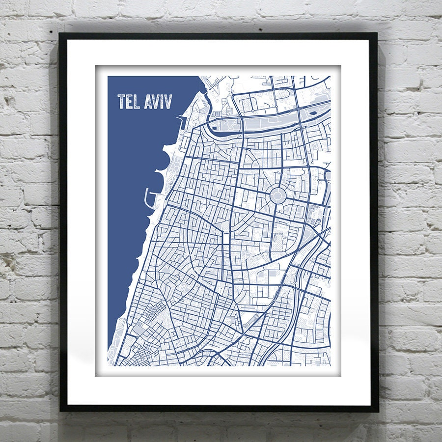 Tel aviv israel blueprint map poster art print several sizes available malvernweather Images