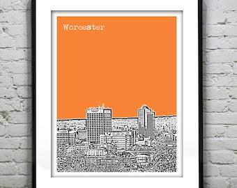 Worcester Massachusetts City Skyline Poster Art Print Downtown Worcester MA Item T4418