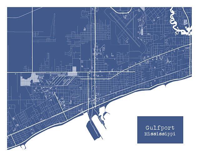 Gulfport Mississippi Blueprint Map Poster Art Print Several Sizes ...