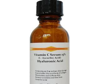 Vitamin C (L-Ascorbic Acid) 15% with Pure Hyaluronic Acid Anti Aging Serum