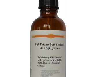 High Potency 15% MAP Vitamin C Serum with Pure Hyaluronic Acid, DMAE, MSM, and Allantoin 1.2 oz