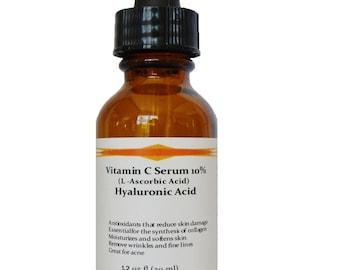 Vitamin C (L-Ascorbic Acid) 10% with Pure Hyaluronic Acid Anti Aging Serum