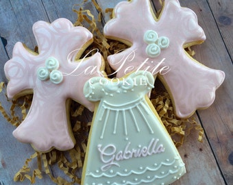 Christening / First Communion / Baptism Cross and Dress sugar cookies (1 Dozen)