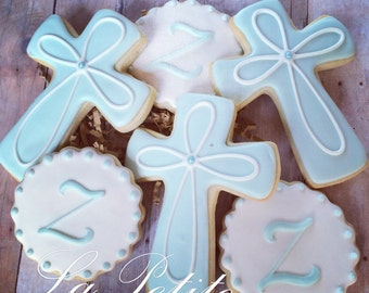 Christening / First Communion / Baptism Cross and Monogram sugar cookies (1 Dozen)