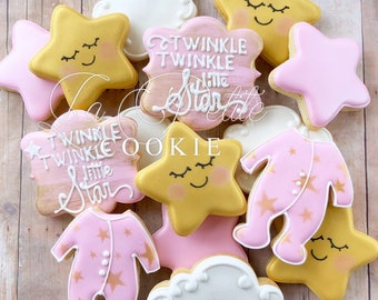 Pink and Gold Twinkle Twinkle Little Star Baby Shower Sugar Cookies (1 dozen)
