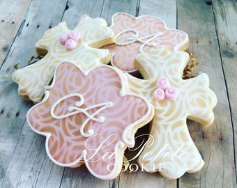 Pink and Gold Christening / First Communion / Baptism Cross and Monogram sugar cookies (1 Dozen)