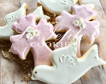 Christening / First Communion / Baptism Cross and Dove sugar cookies (1 Dozen)