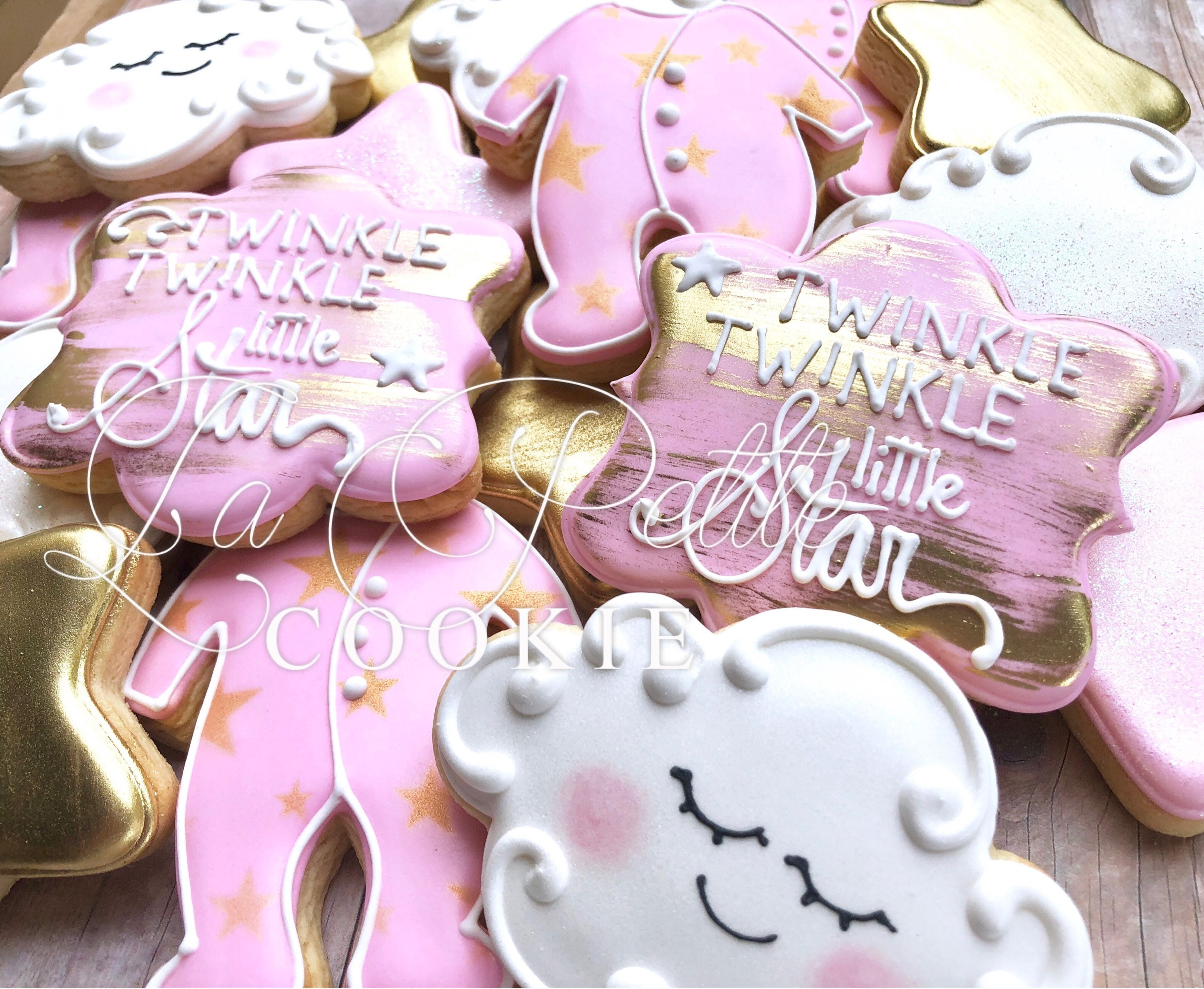 Pink and Gold Twinkle Twinkle Little Star Baby Shower Sugar