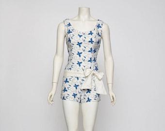 blue embroidered romper bathing suit vintage 1940s • Revival Vintage Boutique