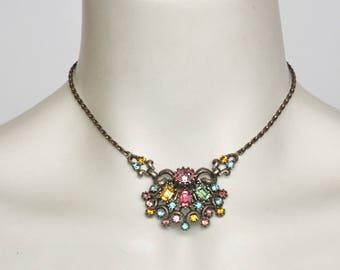 pastel rhinestone necklace by coro vintage 1940s • Revival Vintage Boutique