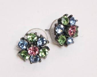 pastel rhinestone stud earrings vintage 1940s • Revival Vintage Boutique