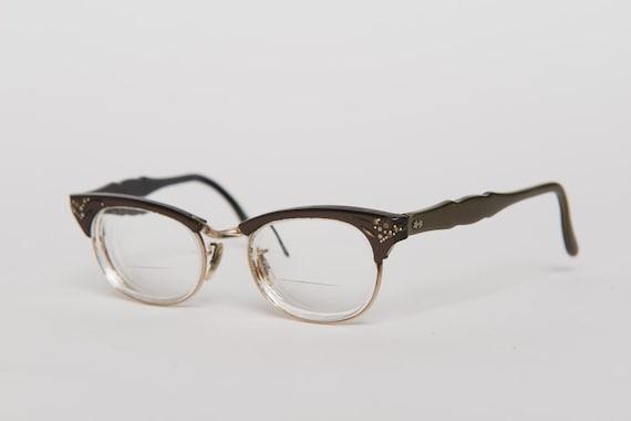 dac98ee19ff brown and olive browline style eyeglasses vintage