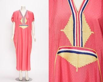 pink kaftan with multicolored trim detail vintage 1970s • Revival Vintage Boutique