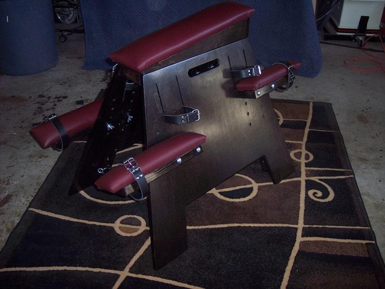 Dungeon Furniture Spanking Bdsm Restraint Sex Bench Birch W Ebony Finish And Burgundy Padding