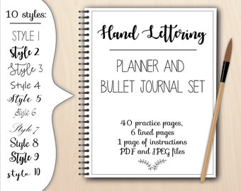 Hand lettering worksheets planner and bullet journal words, pdf and jpeg modern calligraphy practice procreate ipad, digital and printable