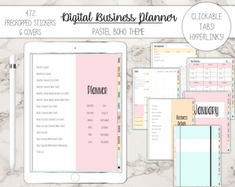 Digital Business Planner with Hyperlinks, 470 Pre-cropped Stickers, Goodnotes file, iPad or tablet, Social Media, 6 Covers