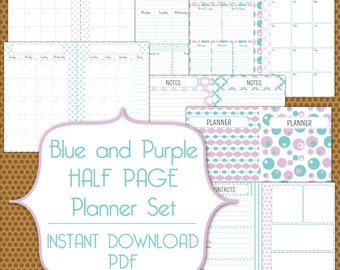 Half Page Planner Set PDF Instant Download Organization Printable Set in Blue and Purple