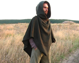 The Duellist- Origami Poncho. Mens Fold-up Green Woolen Cloak