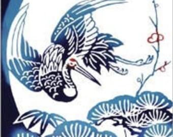 Rienzome Tenugui Cloth with Lucky Omen Turtle and Crane (388)