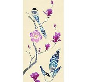 Rienzome Tenugui Cloth with Birds on a Lotus (286)