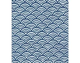 RIENZOME Cotton Tenugui Cloth with a Classic Kimono Pattern of Waves 620 (3002355)