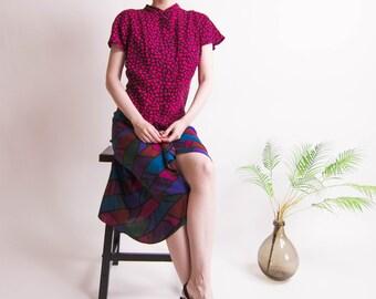 b5b9754278c Vintage 80s windowpane avant garde short sleeve mandarin collar dress