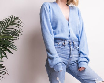 Vintage 80s baby blue button down minimal cardigan sweater top 49e506b68