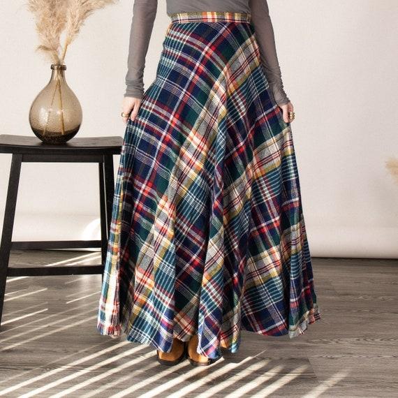 Vintage 70s tartan plaid wool pleated maxi skirt - image 2