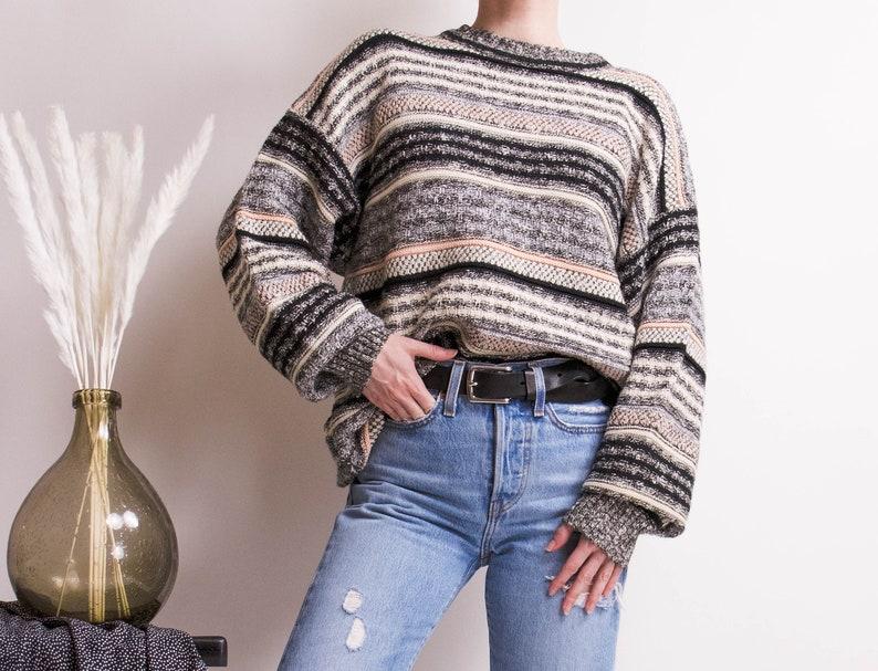 661dd6529f8b52 Vintage 80s striped pink gray chunky knit boyfriend crewneck | Etsy