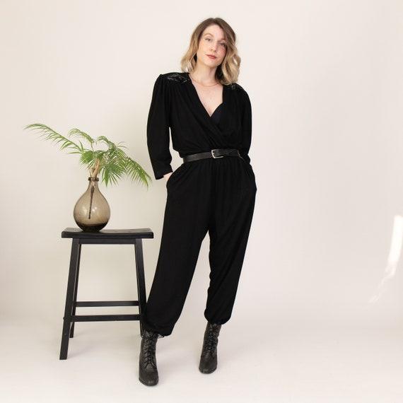 Vintage 80s black sequin avant utility jumpsuit