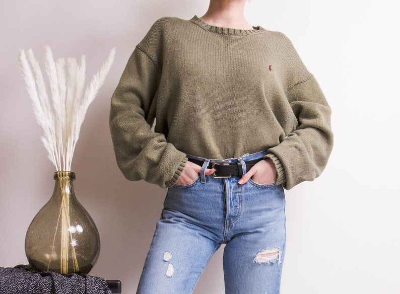 c1b788d2c Vintage 90s olive green oversized chunky knit Polo Ralph