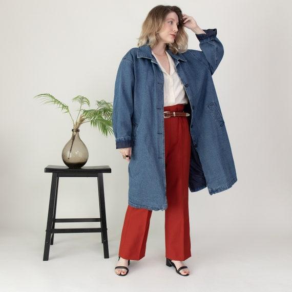 Vintage denim longline duster chore coat jacket