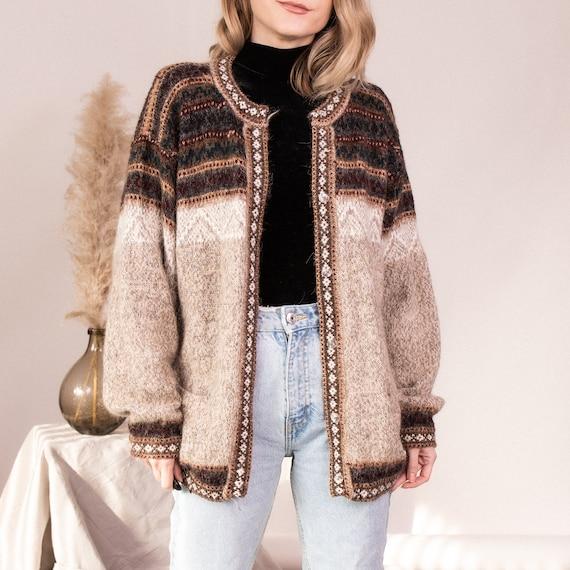 Vintage fair isle muted brown beige knit cardigan